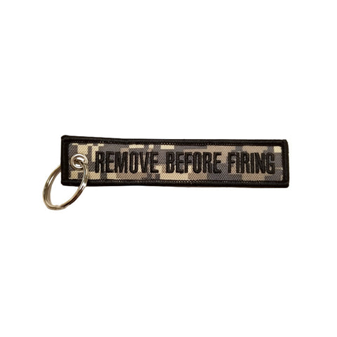 Remove Before Firing Camo Keychain