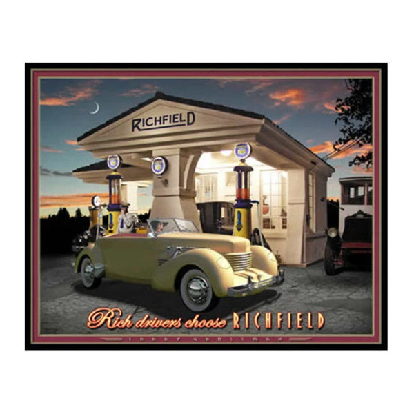 """Rich Drivers Choose Richfield"" 19 X 25 print by Larry Grossman"