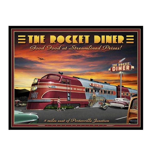 """The Rocket Diner"" 19 X 25 print by Larry Grossman"