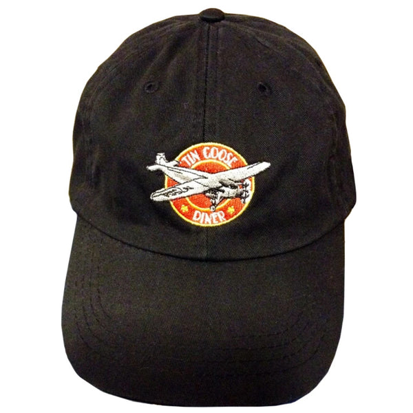 Adjustable size, low profile baseball hat with the Tin Goose Diner logo. Color: Khaki or Black