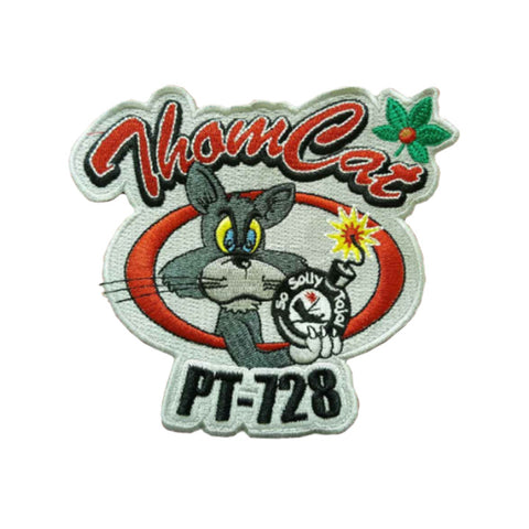 PT-728 Thomcat Logo Patch.  The PT-728 Thomcat Logo is the official logo for Liberty Aviation Museum's WWII PT-728 Thomcat boat.