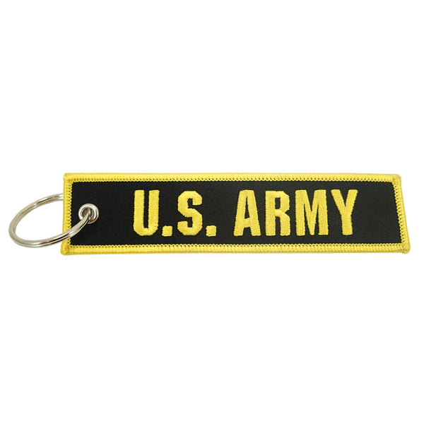 U.S. Army black/yellow embroidered keychain
