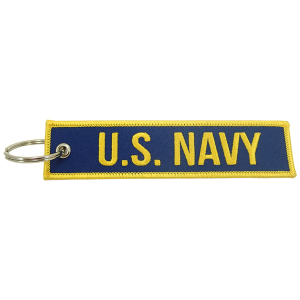 U.S. Navy blue/yellow embroidered keychain