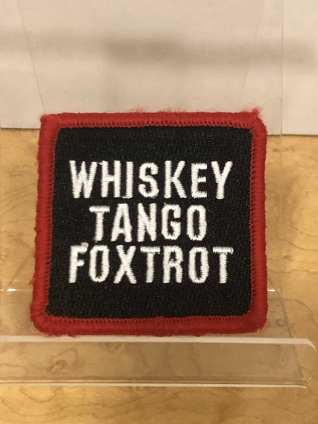 Whiskey Tango Foxtrot  Velcro Patch with red border