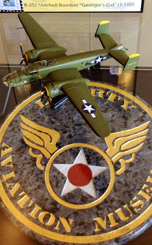 "Limited Edition B-25J Mitchell Bomber ""Georgie's Gal"" 1:100 scale diecast model exclusive to the Liberty Aviation Museum!"