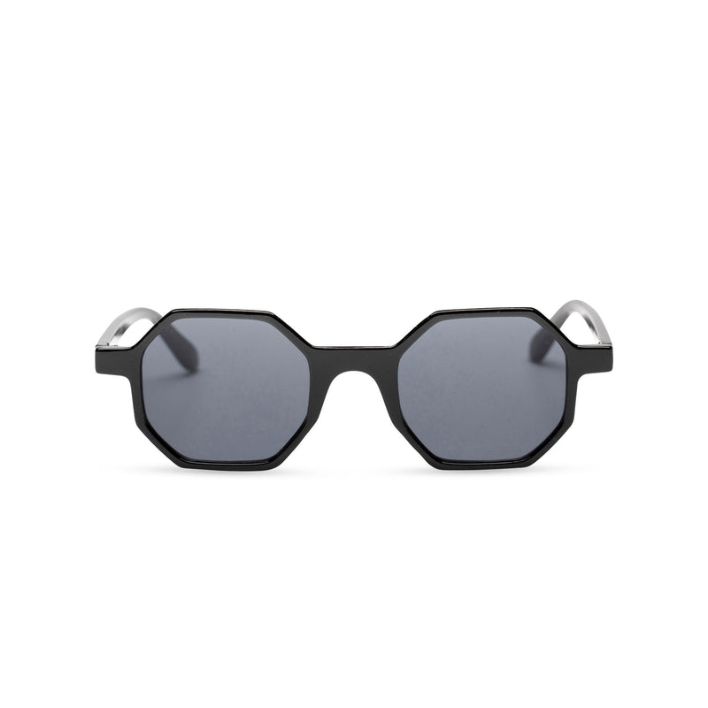 black medium hexagonal sunglasses plastic frame square polygon shape
