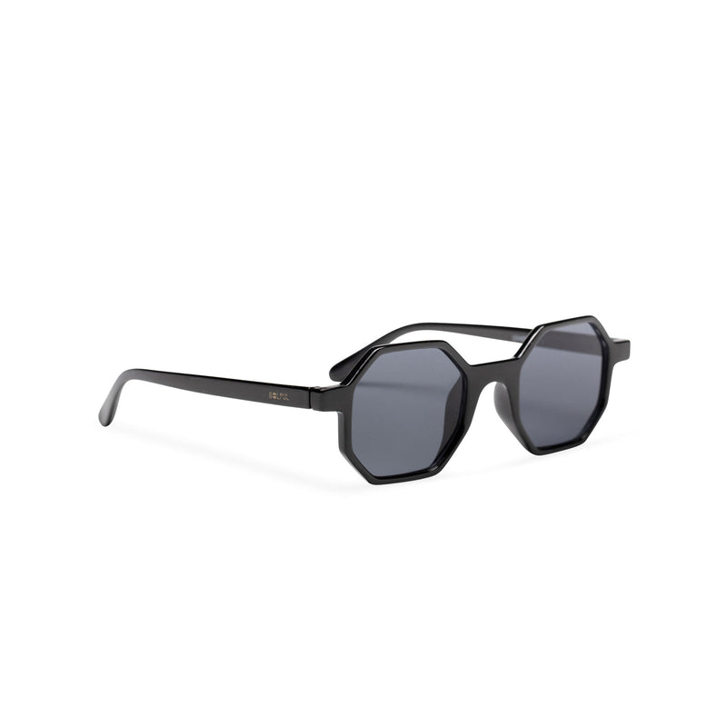 black medium hexagonal sunglasses plastic frame square polygon shape side