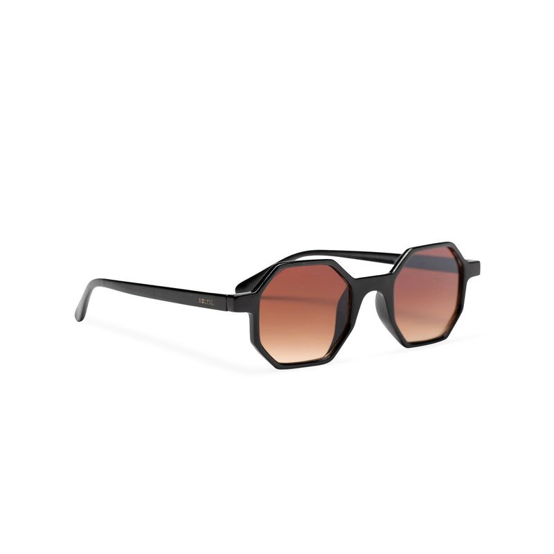 black frame medium hexagonal sunglasses plastic frame square polygon shape brown lens side
