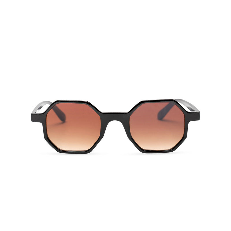 black frame medium hexagonal sunglasses plastic frame square polygon shape brown lens