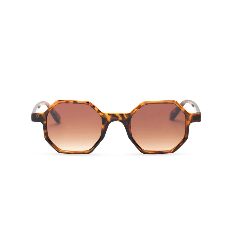 Havana tortoise frame medium hexagonal sunglasses plastic frame square polygon shape brown lens