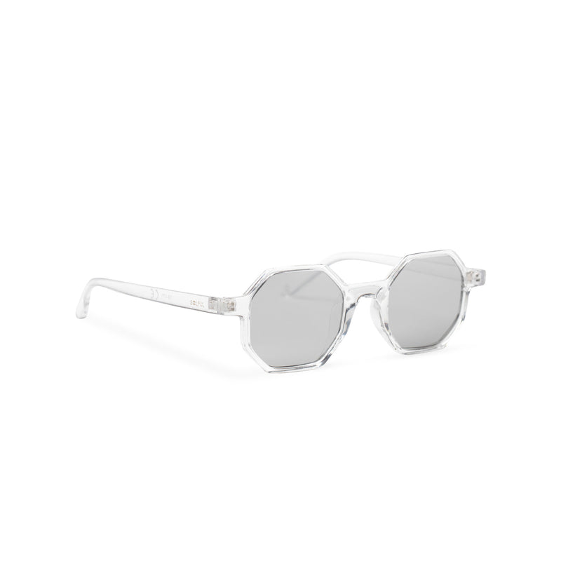 transparent structure frame medium hexagonal sunglasses plastic frame square polygon shape side