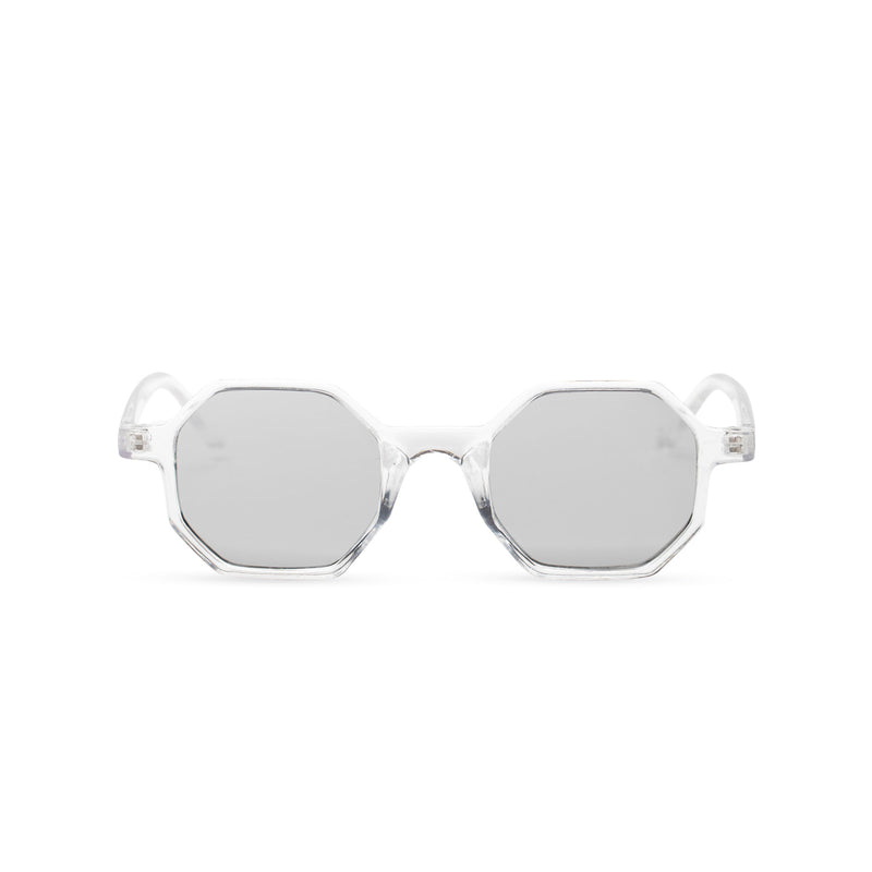transparent structure frame medium hexagonal sunglasses plastic frame square polygon shape