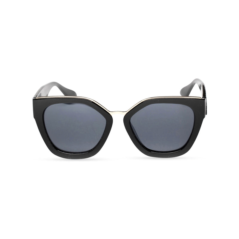 DEVINAR broad plastic and metal big cat eye sunglasses Ibiza black front