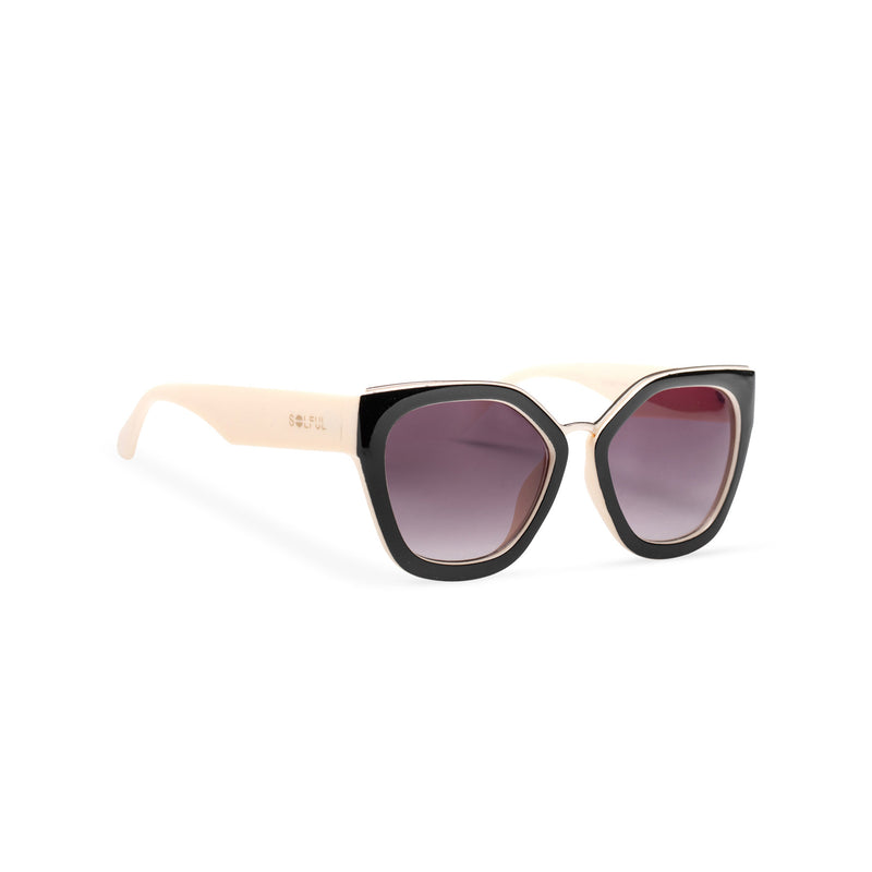 DEVINAR broad plastic and metal big cat eye sunglasses Ibiza white creme and black front
