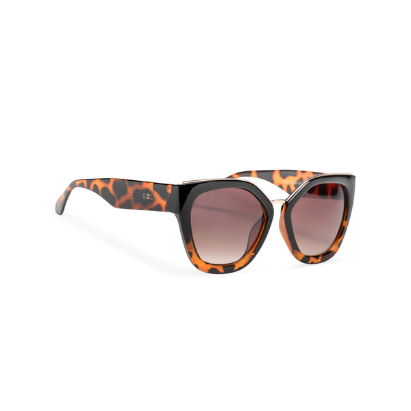 DEVINAR broad plastic and metal big cat eye sunglasses Ibiza Tortoise leopard side