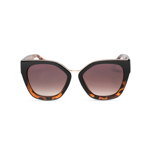 DEVINAR broad plastic and metal big cat eye sunglasses Ibiza Tortoise leopard front