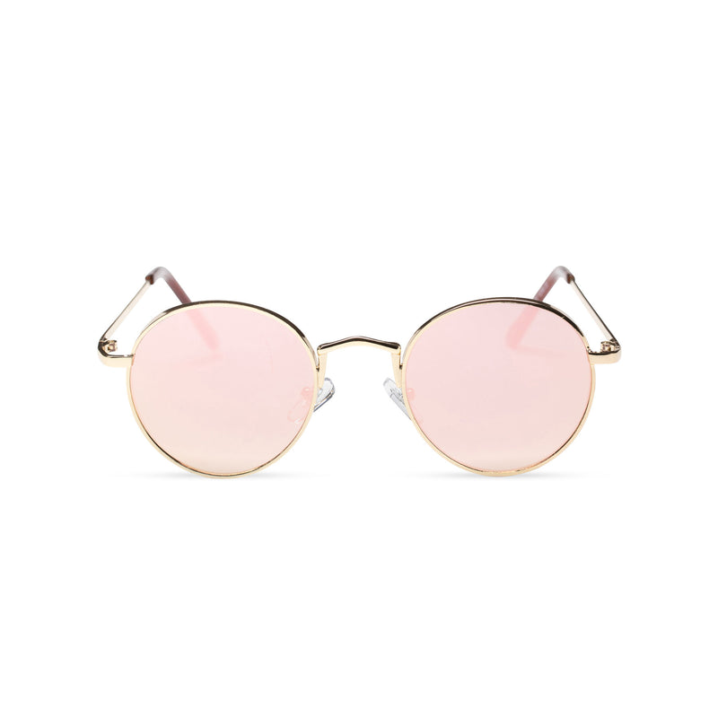 MIQUEL mirror pink lens gold round fine metal frame medium steampunk sunglasses with tiny shield