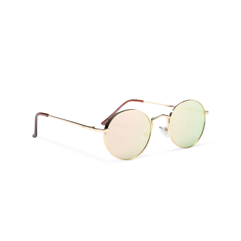 side MIQUEL mirror pink lens gold round fine metal frame medium steampunk sunglasses with tiny shield