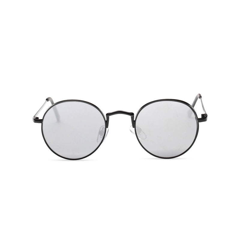 MIQUEL mirror silver lens black round fine metal frame medium steampunk sunglasses with tiny shield
