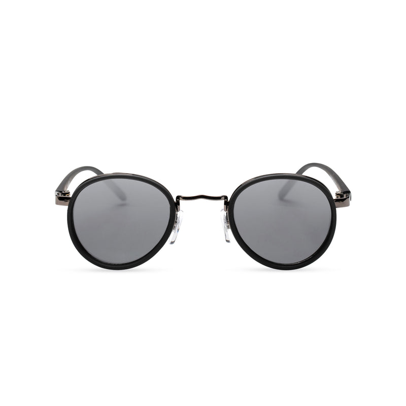 black PALMA black round sunglasses with plastic front shields steampunk techno