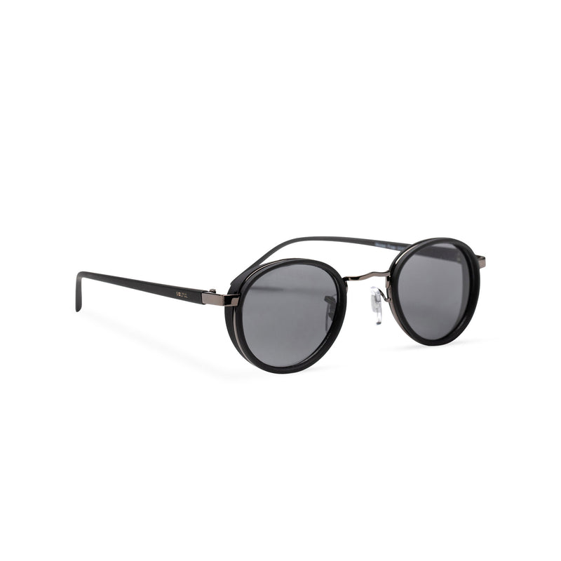 front PALMA black round sunglasses with plastic front shields steampunk techno
