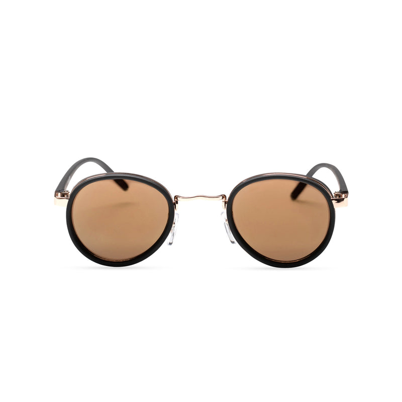 brown earth PALMA black gold round sunglasses with plastic front shields steampunk techno