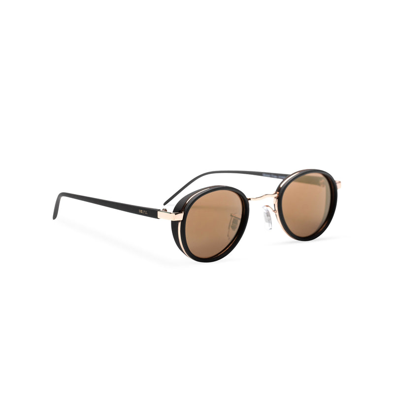 side brown lens PALMA black gold round sunglasses with plastic front shields steampunk techno