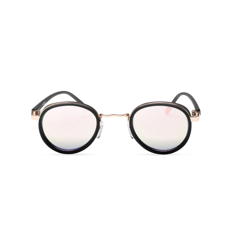 pink front PALMA black round sunglasses with plastic front shields steampunk techno
