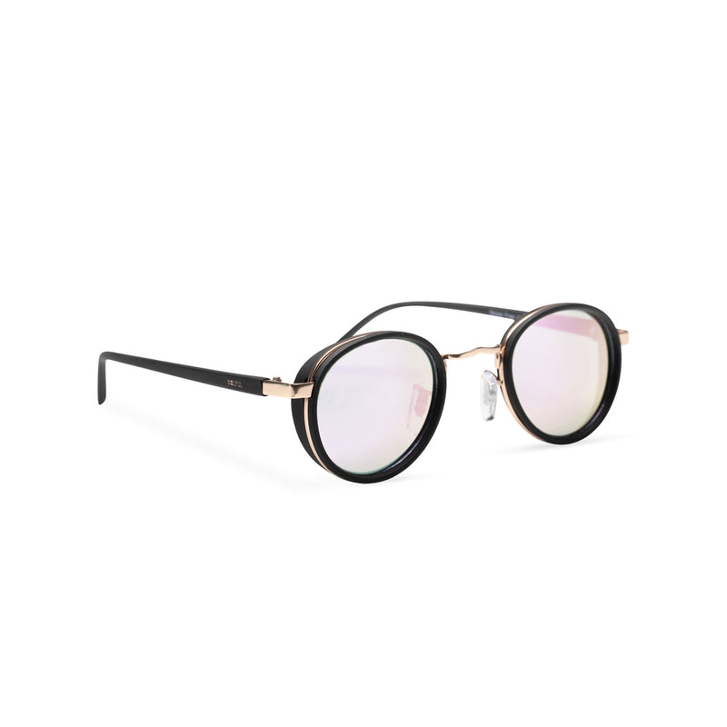 pink side PALMA black gold round sunglasses with plastic front shields steampunk techno