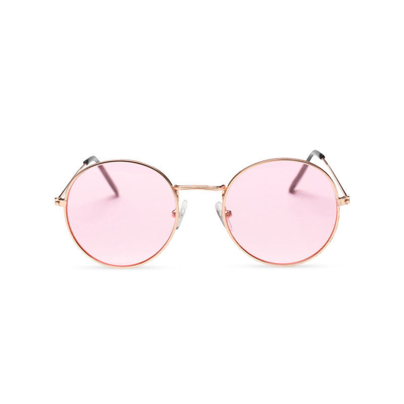 front light pink fine medium round John Lennon sunglasses hippie style shades