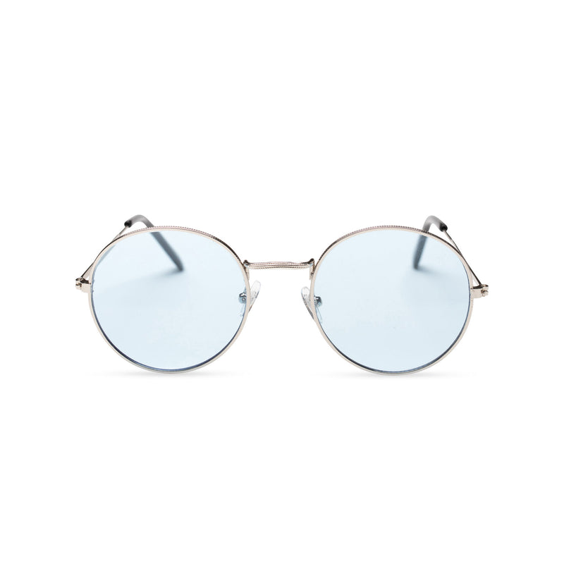 front light blue transparent fine medium round John Lennon sunglasses hippie style shades