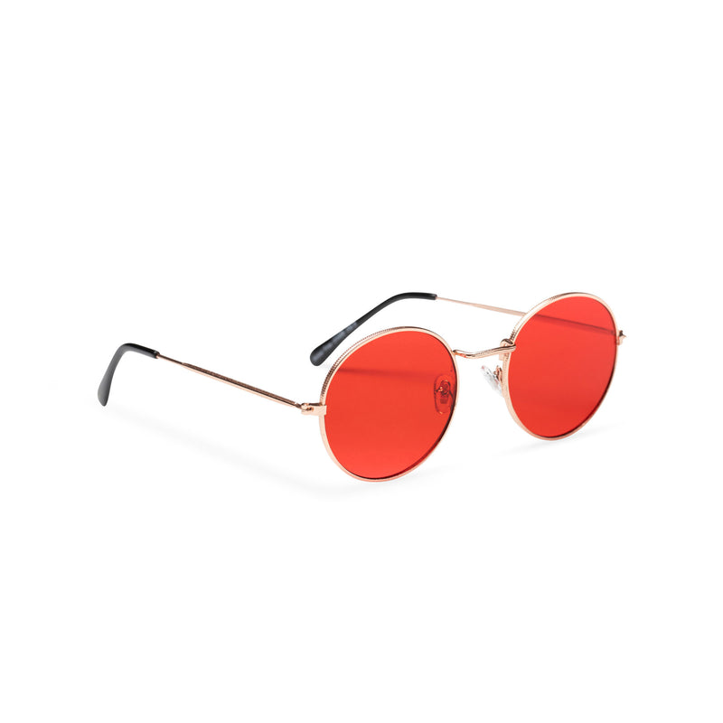 side red lens fine medium round John Lennon sunglasses hippie style shades