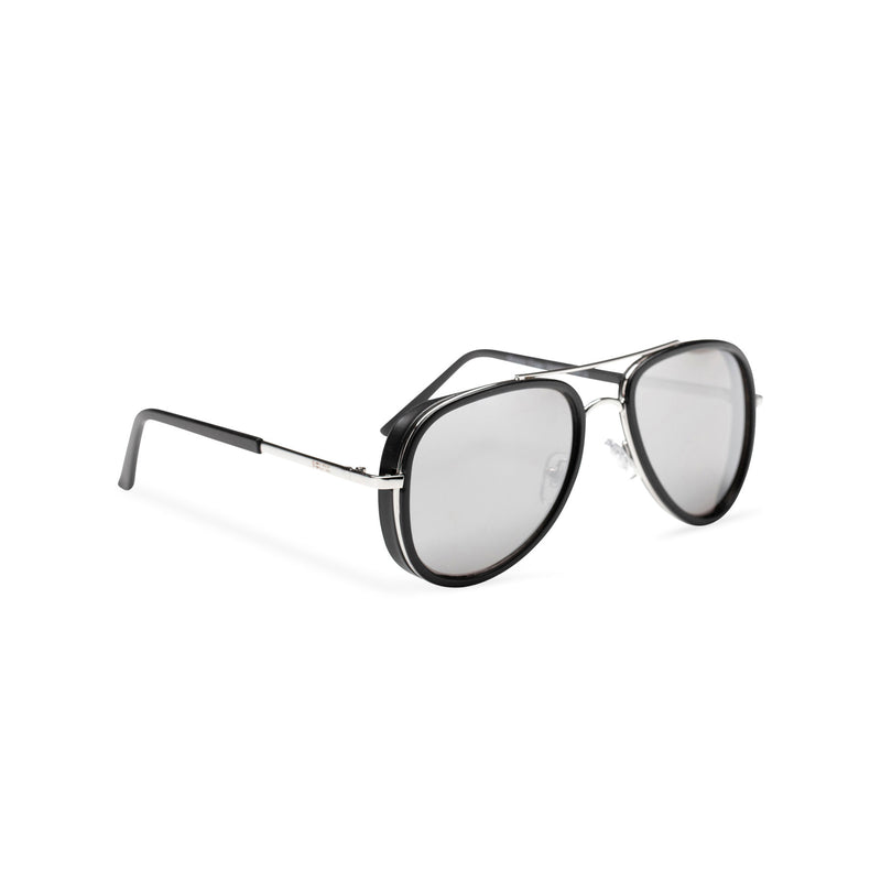 side mirror lens silver frame aviator sunglasses with brow-line and added plastic rims