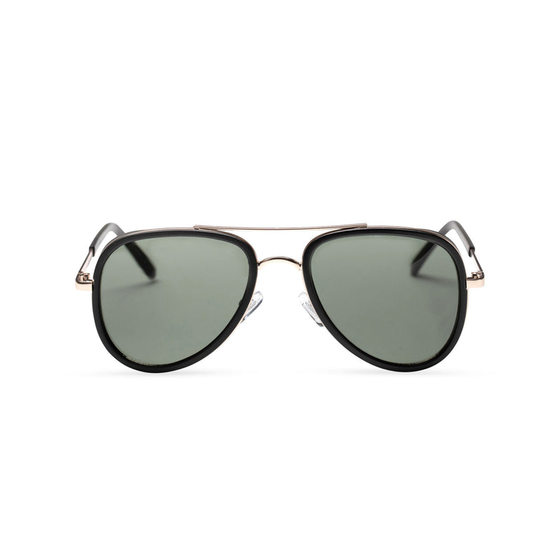 dark lens gold frame aviator sunglasses with brow-line and added plastic rims