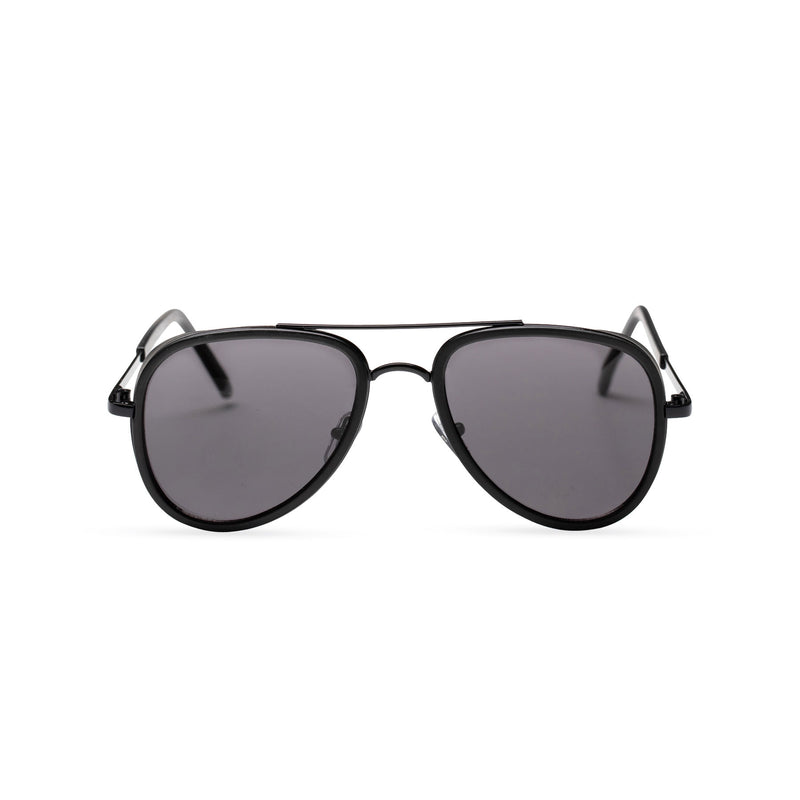 dark lens black frame aviator sunglasses with brow-line and added plastic rims