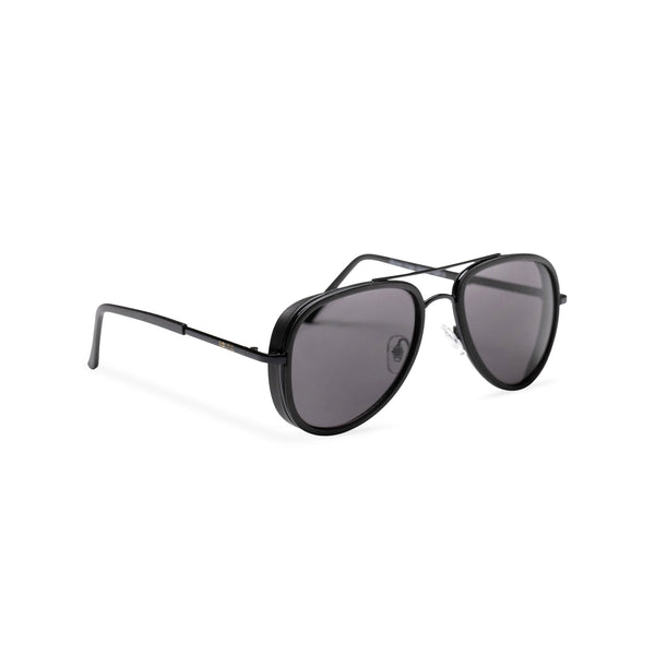 side dark lens black frame aviator sunglasses with brow-line and added plastic rims