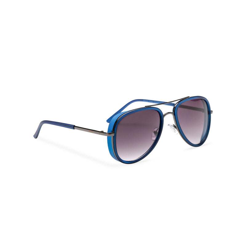 black violet lens dark silver frame aviator sunglasses with brow-line and added plastic blue green rims side shot
