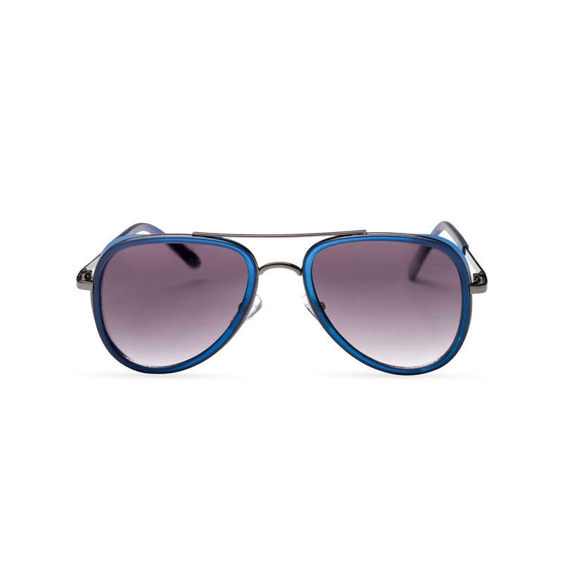 black violet lens dark silver frame aviator sunglasses with brow-line and added plastic blue green rims