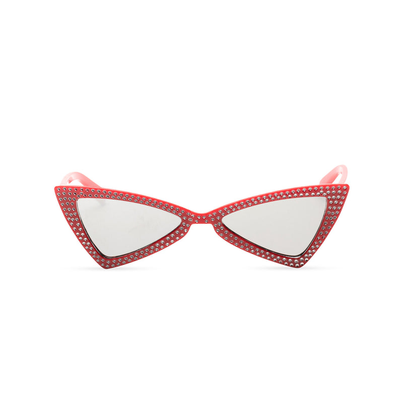 front red frame mirror lens small square bling cat eye sunglasses polygon angle crystal dots small rhinestones
