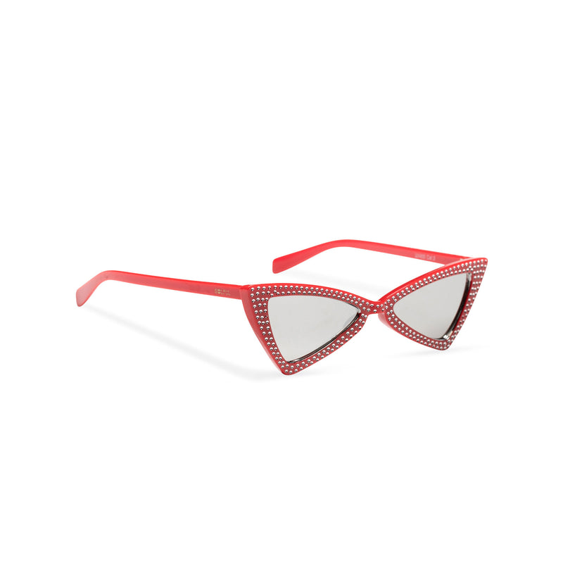 side red frame mirror lens small square bling cat eye sunglasses polygon angle crystal dots small rhinestones