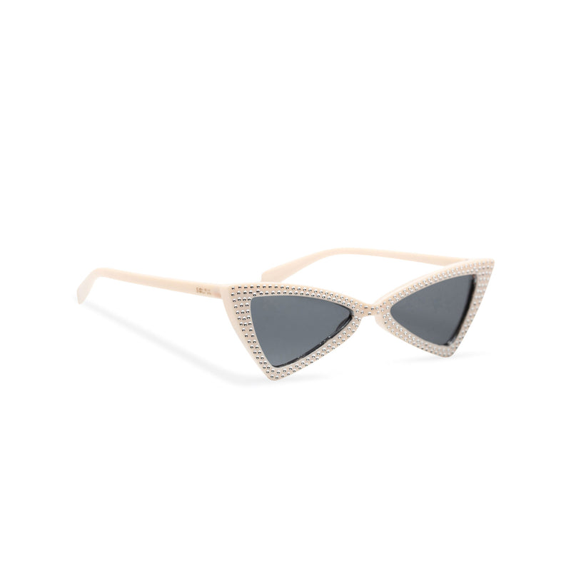 side white creme frame dark lens small square bling cat eye sunglasses polygon angle crystal dots small rhinestones