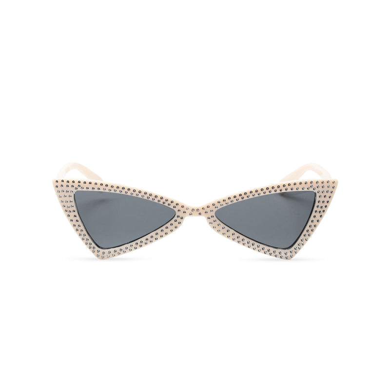 white creme frame dark lens small square bling cat eye sunglasses polygon angle crystal dots small rhinestones