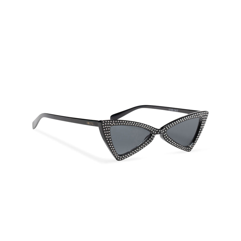 side black frame dark lens small square bling cat eye sunglasses polygon angle crystal dots small rhinestones
