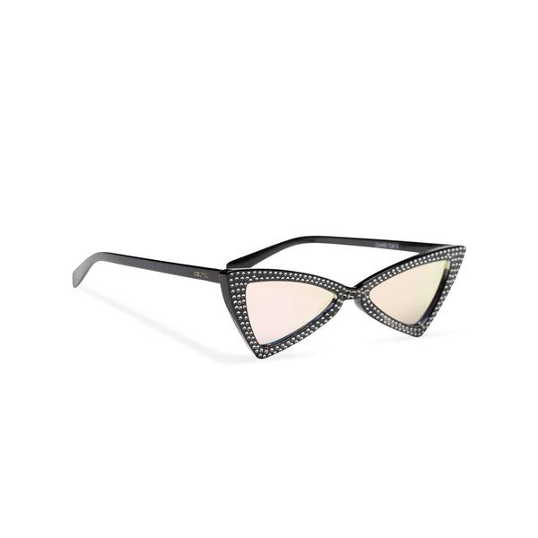 side black frame mirror rainbow lens small square bling cat eye sunglasses polygon angle crystal dots small rhinestones