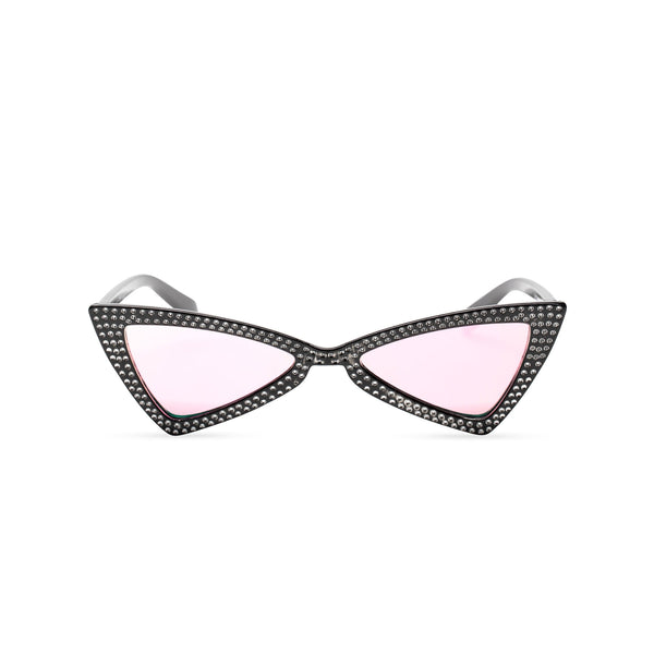 black frame mirror rainbow lens small square bling cat eye sunglasses polygon angle crystal dots small rhinestones
