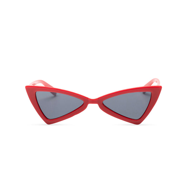 small tiny red plastic frame dark lens cat eye sunglasses with polygon cat eye shape