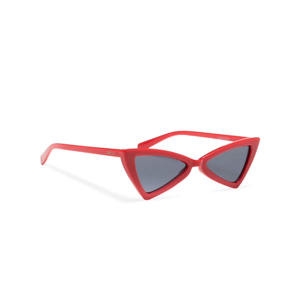 side small tiny red plastic frame dark lens cat eye sunglasses with polygon cat eye shape