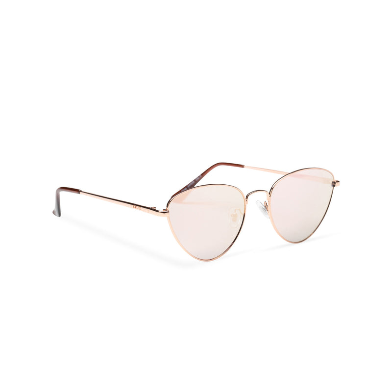 gold pink metal triangle sunglasses wolf cat eye round John Lennon side