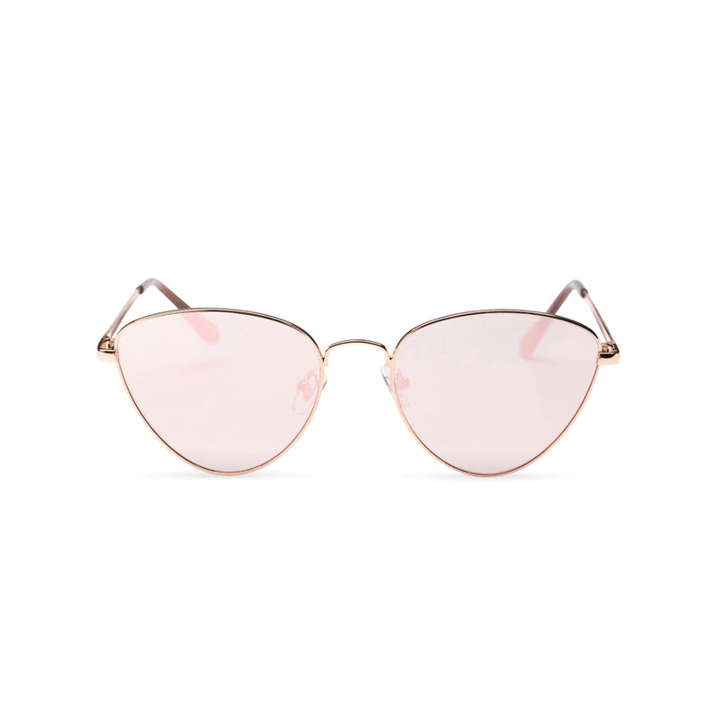 gold pink metal triangle sunglasses wolf cat eye round John Lennon front