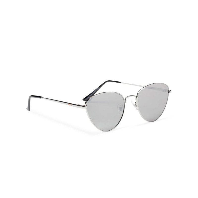 silver metal triangle sunglasses wolf teashade round John Lennon side